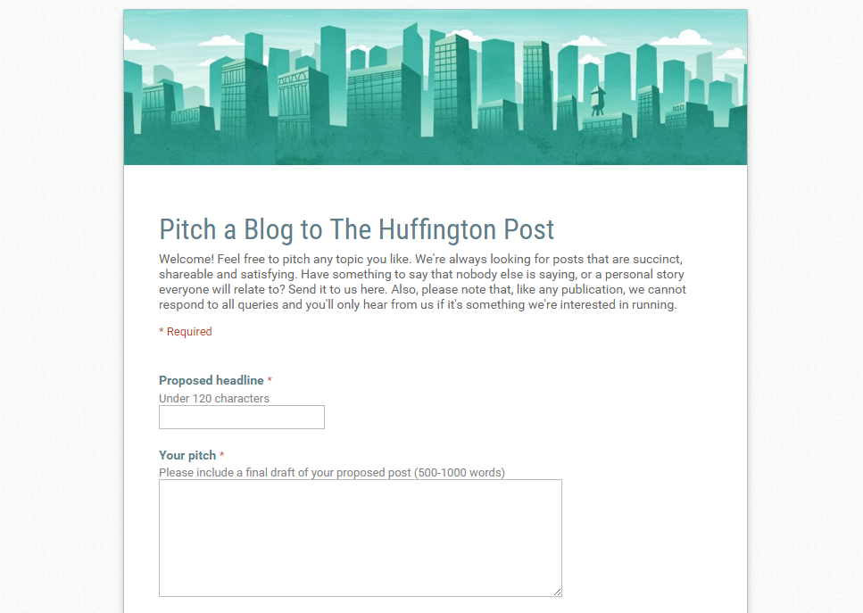 huffington post blogger submission form