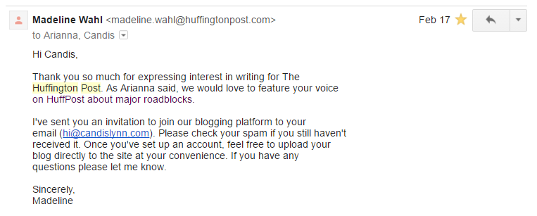 huffington post welcome email