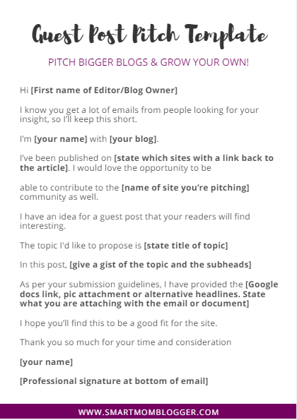 Guest post pitch template