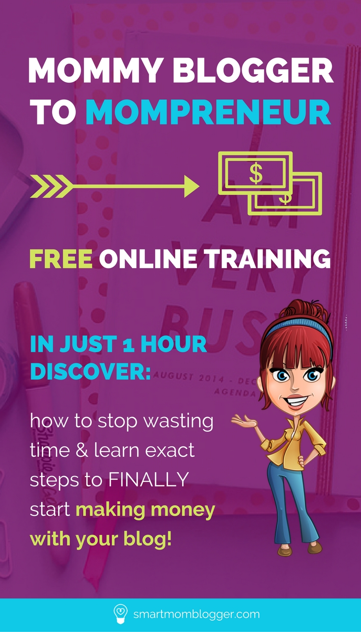 "Ready to finally start making money blogging? https://www.smartmomblogger.com/webinar-mommy-blogger-mompreneur/ This free ""mommy blogger"" to ""mompreneur"" training will show you exactly how to make money with your blog."
